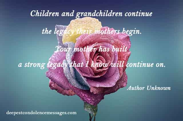 Condolence Quote for Loss of a Mother 1